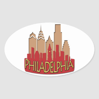 Philly Skyline newwave hot Oval Sticker