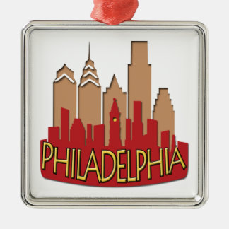 Philly Skyline newwave hot Square Metal Christmas Ornament
