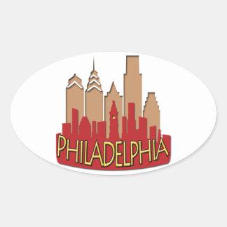 Philly Skyline newwave hot Oval Sticker