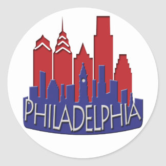 Philly Skyline newwave patriot Classic Round Sticker