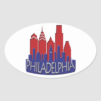 Philly Skyline newwave patriot Oval Sticker
