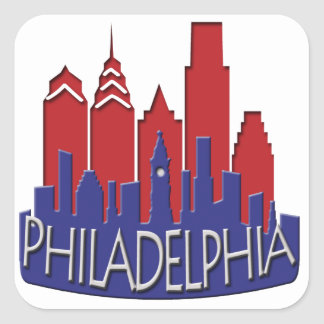 Philly Skyline newwave patriot Square Sticker