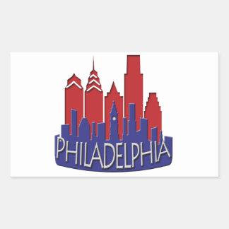 Philly Skyline newwave patriot Rectangular Sticker