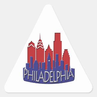 Philly Skyline newwave patriot Triangle Sticker