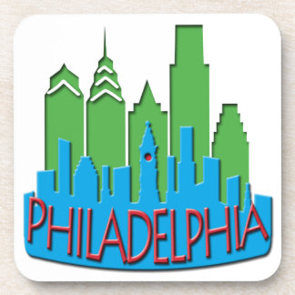Philly Skyline newwave primary Beverage Coasters
