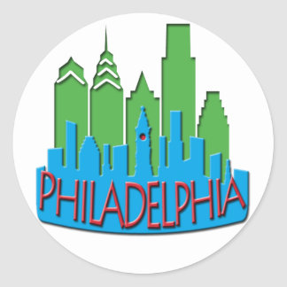 Philly Skyline newwave primary Classic Round Sticker