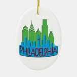 Philly Skyline newwave primary Double-Sided Oval Ceramic Christmas Ornament