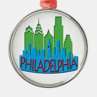 Philly Skyline newwave primary Round Metal Christmas Ornament