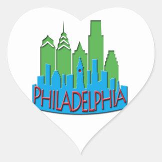 Philly Skyline newwave primary Heart Sticker