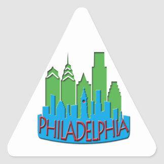 Philly Skyline newwave primary Triangle Sticker