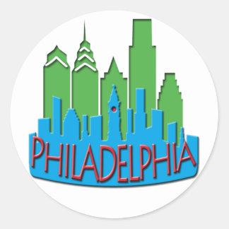 Philly Skyline newwave primary Classic Round Sticker