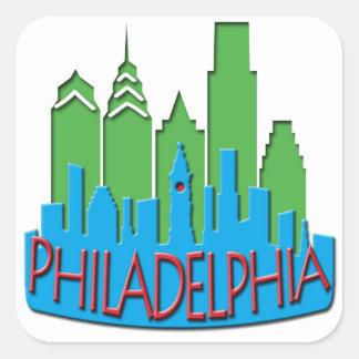 Philly Skyline newwave primary Square Sticker