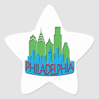 Philly Skyline newwave primary Star Sticker