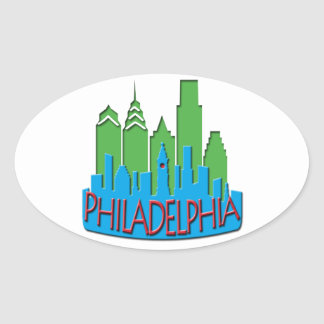 Philly Skyline newwave primary Oval Sticker