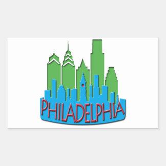 Philly Skyline newwave primary Rectangular Sticker