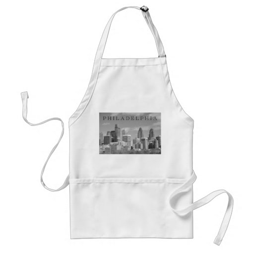 Philly skyscrapers black and white aprons