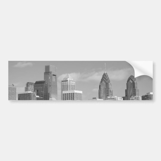 Philly skyscrapers black and white bumper sticker