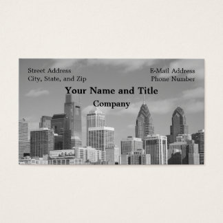 Philly skyscrapers black and white business card