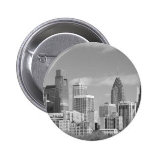 Philly skyscrapers black and white pinback button