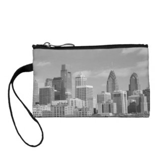 Philly skyscrapers black and white coin wallets