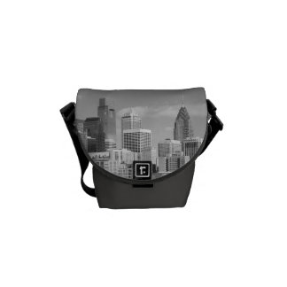 Philly skyscrapers black and white courier bag