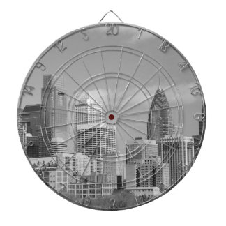 Philly skyscrapers black and white dart boards