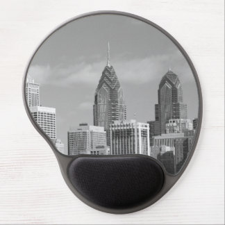 Philly skyscrapers black and white gel mousepad