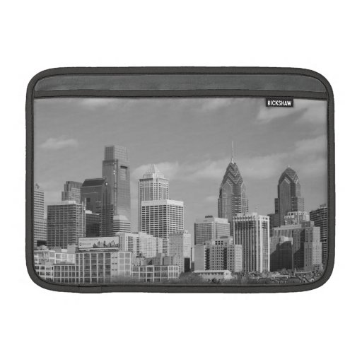 Philly skyscrapers black and white MacBook air sleeve