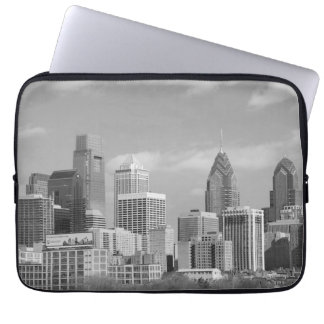 Philly skyscrapers black and white laptop sleeve