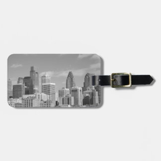 Philly skyscrapers black and white luggage tag