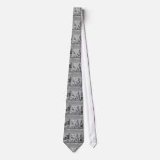 Philly skyscrapers black and white neck tie