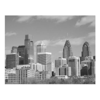 Philly skyscrapers black and white post card