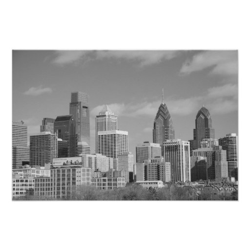 Philly skyscrapers black and white print