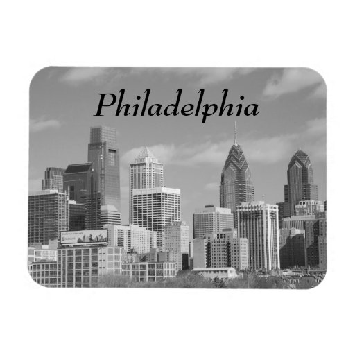 Philly skyscrapers black and white rectangular photo magnet