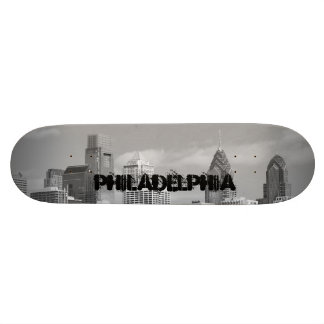 Philly skyscrapers black and white skate deck