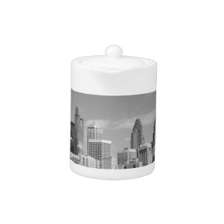 Philly skyscrapers black and white teapot