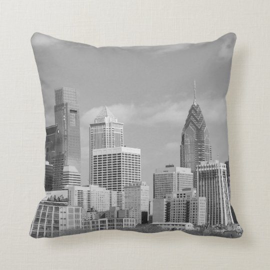 Philly skyscrapers black and white throw pillow