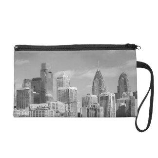 Philly skyscrapers black and white wristlets
