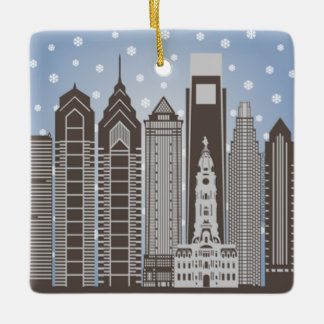 Philly Snowflakes Square Ornament