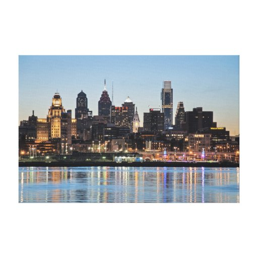 Philly sunset stretched canvas prints
