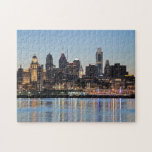 "Philly sunset jigsaw puzzle<br><div class=""desc"">This is the beautiful skyline of the city of Philadelphia, taken at sunset from across the Delaware River at the Camden waterfront. The architecture of the skyscrapers of Philly are on display in this photo. Center City, the downtown area of Philadelphia, is the focus of this photograph. The lights of...</div>"