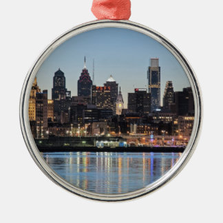 Philly sunset round metal christmas ornament