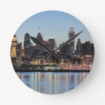Philly sunset round wall clocks