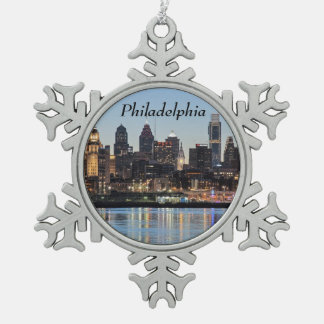 Philly sunset snowflake pewter christmas ornament