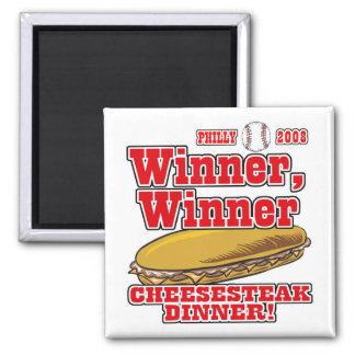 Philly Winner Cheesesteak Dinner 2 Inch Square Magnet