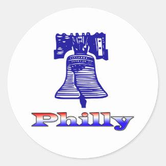 Philly y Liberty Bell Etiqueta Redonda