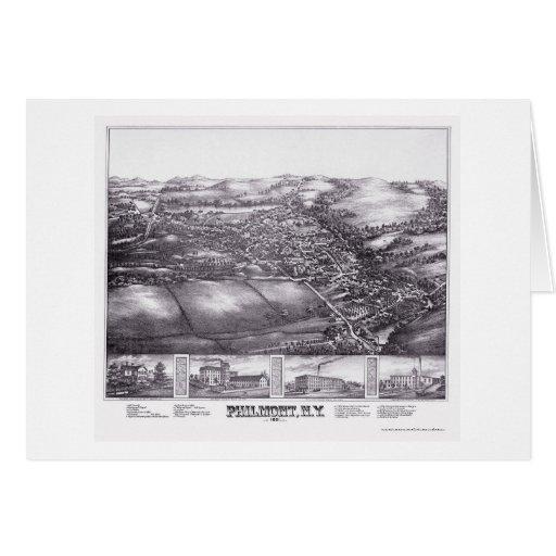 Philmont, mapa panorámico de NY - 1881 Felicitacion