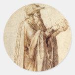 Philosopher by Michelangelo, Vintage Renaissance Round Sticker