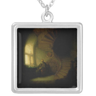 Philosopher in Meditation, 1632 Square Pendant Necklace