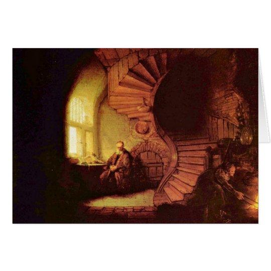 Philosopher In Meditation. By Rembrandt Van Rijn Card